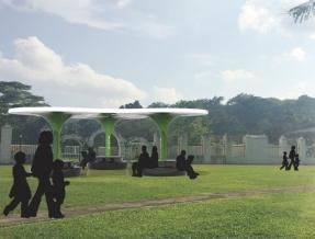 Lawn public leisure pavilion